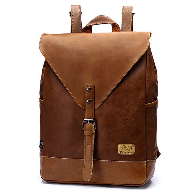 Minetom unisexe Vintage PU Cuir Couleur Unie Multi-Fonction Scolaire Backpack Ordinateur Portable Sac à Dos Randonnée Voyage
