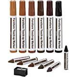 Furniture Repair Kit Wood Markers - Set Of 13 - Markers And Wax Sticks With Sharpener Kit, For Stains, Scratches, Wood Floors, Tables, Desks, Carpenters, Bedposts, Touch Ups, And Cover Ups- By Katzco