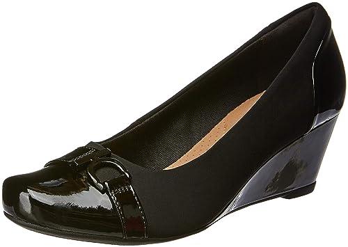 08ada8ad4e7 Clarks Ladies Wedge Heels with Belt Detail Flores Poppy - Black Combi  Textile - UK Size