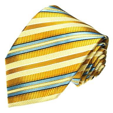 Lorenzo Cana Corbata de seda 100% pura italiana, color dorado ...