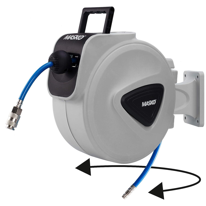 Schlauchtrommel Wandschlauchhalter Schlauchaufroller Druckluftschlauch-trommel TRESKO/® 30m Druckluftschlauch Aufroller automatisch 1//4 Anschluss