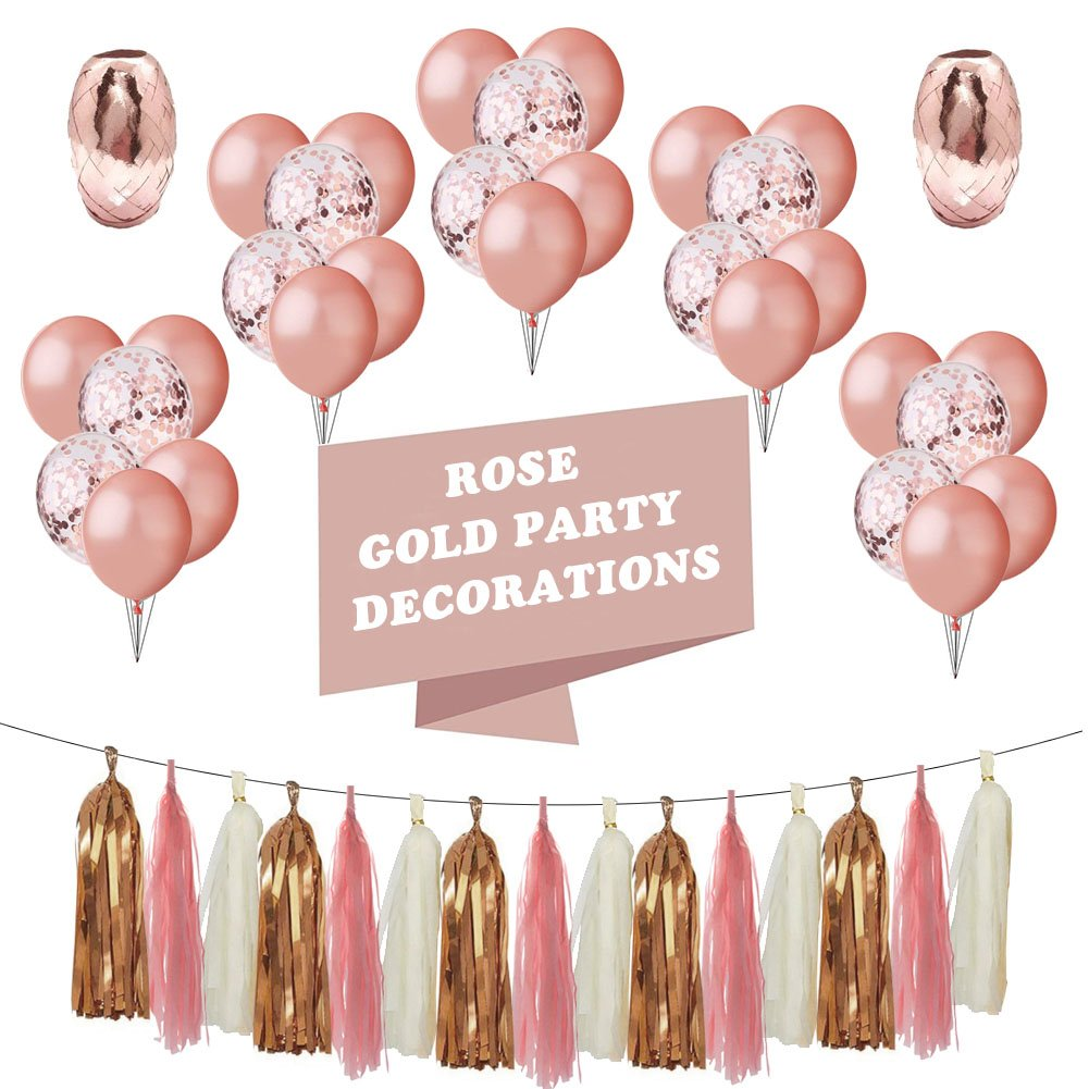 LIVEHITOP Party Supplies Birthday Decorations Girl Birthday Balloon Rose Gold, Gold Confetti Balloons Ribbon Tassel for Women Birthday Party