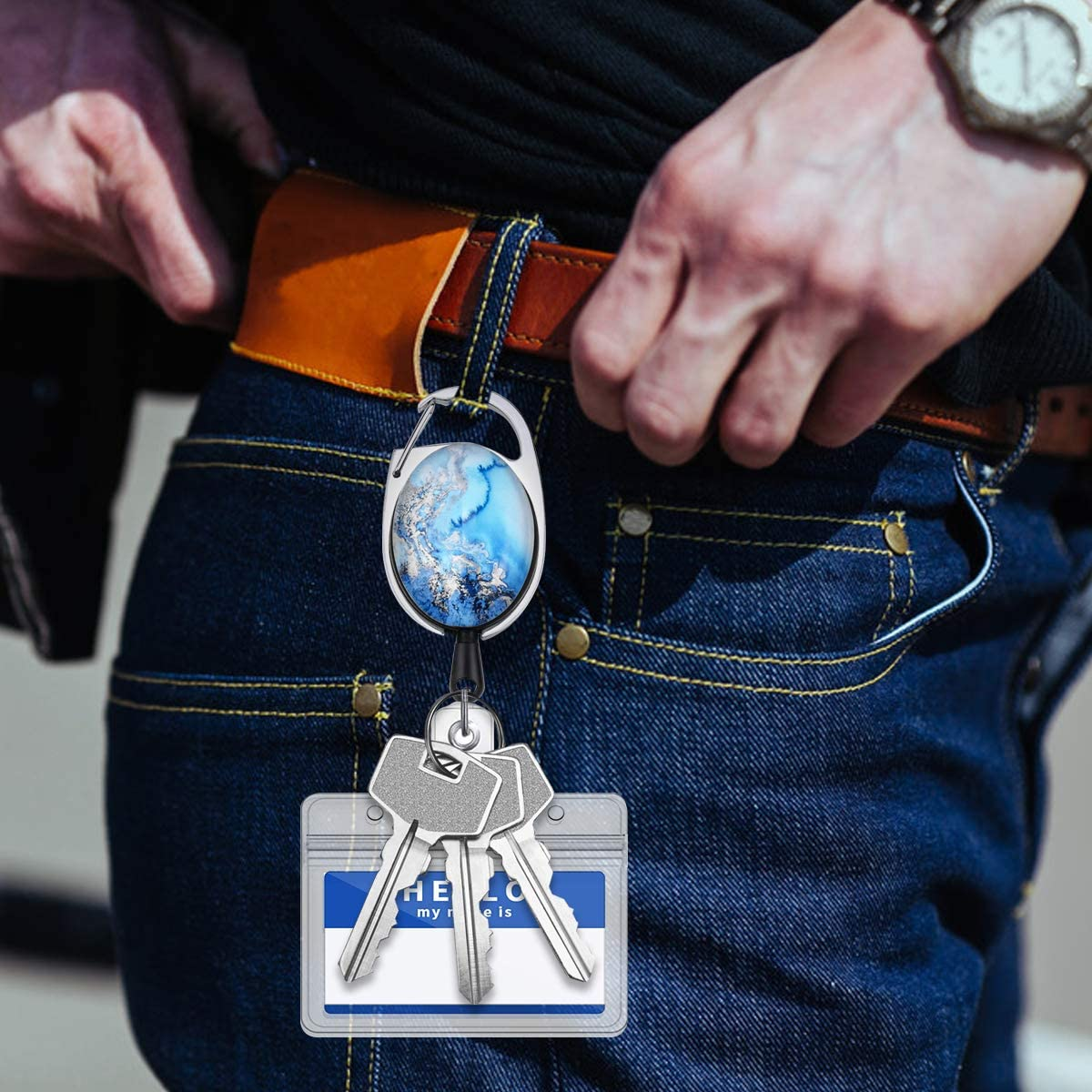 mit Karabiner G/ürtelclip Schl/üsselring 23 Zoll Nylon Rope Shiny Marble Design Hausarbeit Keys Holder Heavy Duty f/ür ID Card Keys Schl/üssel JoJo Fodlon 3pcs Ausweisjojo