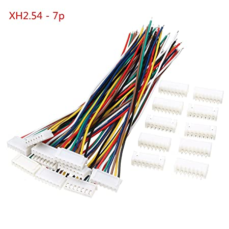 wishfive 10 sets mini micro jst xh2 54mm 7 pin connector plug socket wire  cable 150mm: amazon co uk: diy & tools