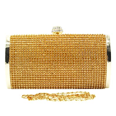 979715dc5424 Wocharm Ladies Glitter Diamante Evening Hard Case Glitz Clutch Bag Wedding  Handbag Events (Gold)