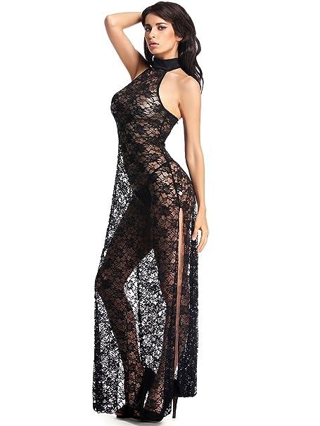 Amazon.com: Amoretu Womens Floral Lace Lingerie Long Cheongsam Side ...