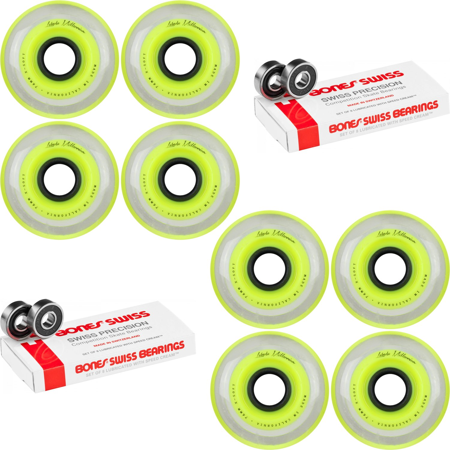 Labeda Millennium Gripper Yellow Hockey Inline Wheels 76mm X-SOFT 8 Pack Swiss by Labeda