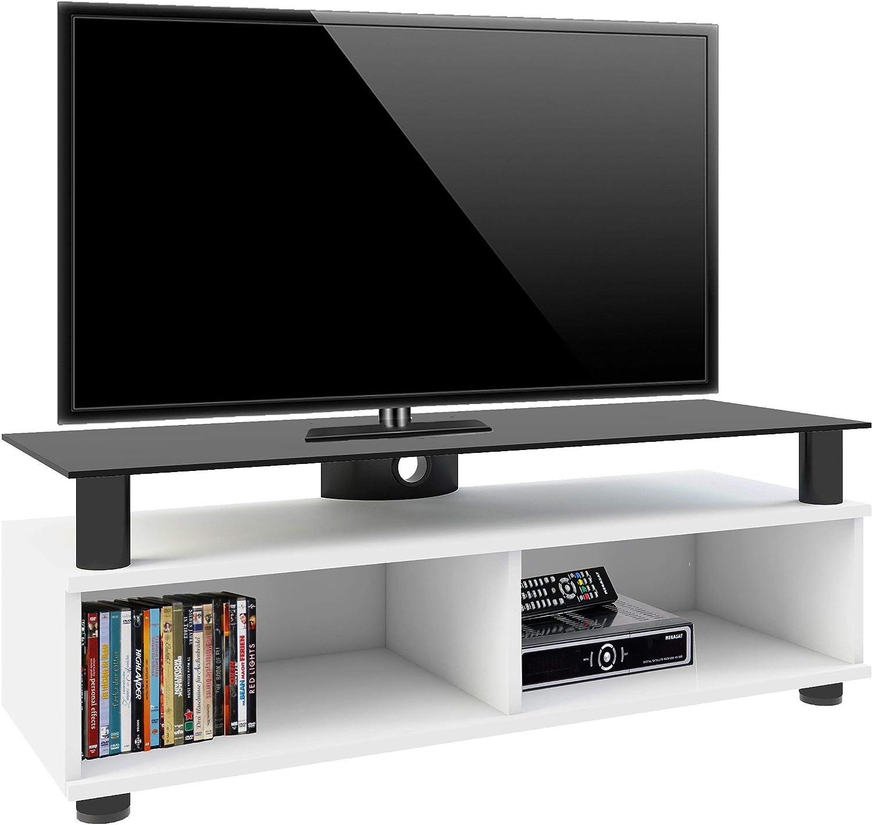 VCM TV Lowboard Schrank Tisch Rack Fernsehschrank Fernsehtisch Bank M/öbel Lack Holz Wei/ß Clunis