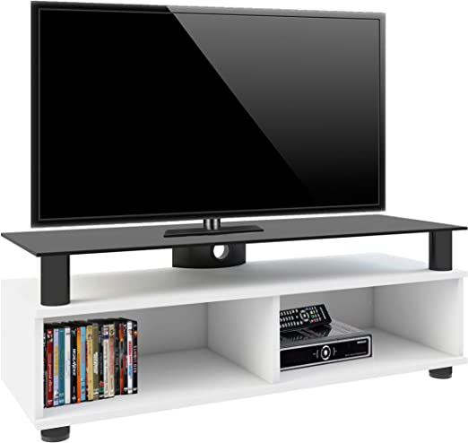 Vcm Tv Lowboard Schrank Tisch Rack Fernsehschrank Fernsehtisch Bank Mobel Lack Holz Weiss Clunis Amazon De Kuche Haushalt