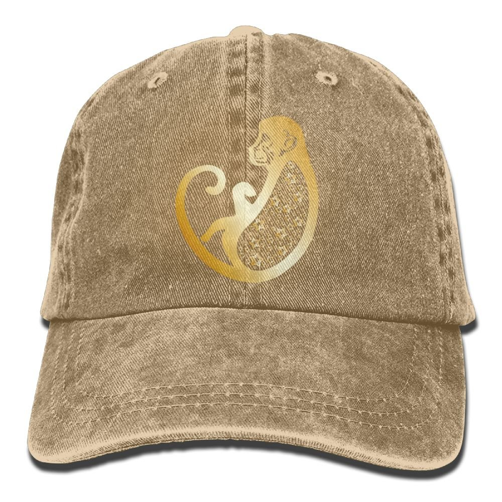 Denim Baseball Cap Chinese Zodiac Gold Monkey Summer Hat Adjustable Cotton Sport Caps