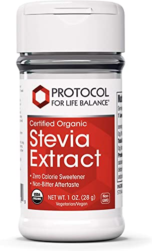 Protocol For Life Balance – Stevia Extract Powder Certified Organic – Naturally Processed Organic Formula Helps to Improve Taste and Sweetening Properties – Zero Calorie Sweetener – 1 oz 28 g