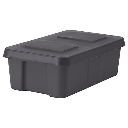 IKEA KLAMTARE - Caja con tapa, de color gris oscuro / al aire libre