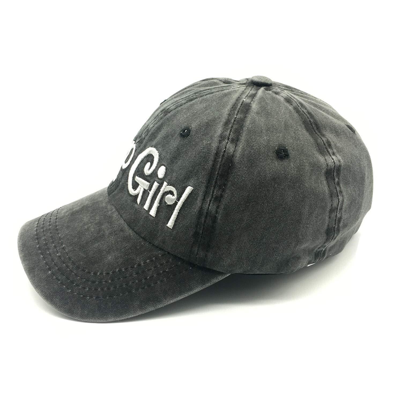 Waldeal Embroidered Jp Girl Vintage Distressed Adjustable Baseball Caps Washed Denim Dad Hat Mom Gift Black by Waldeal (Image #5)