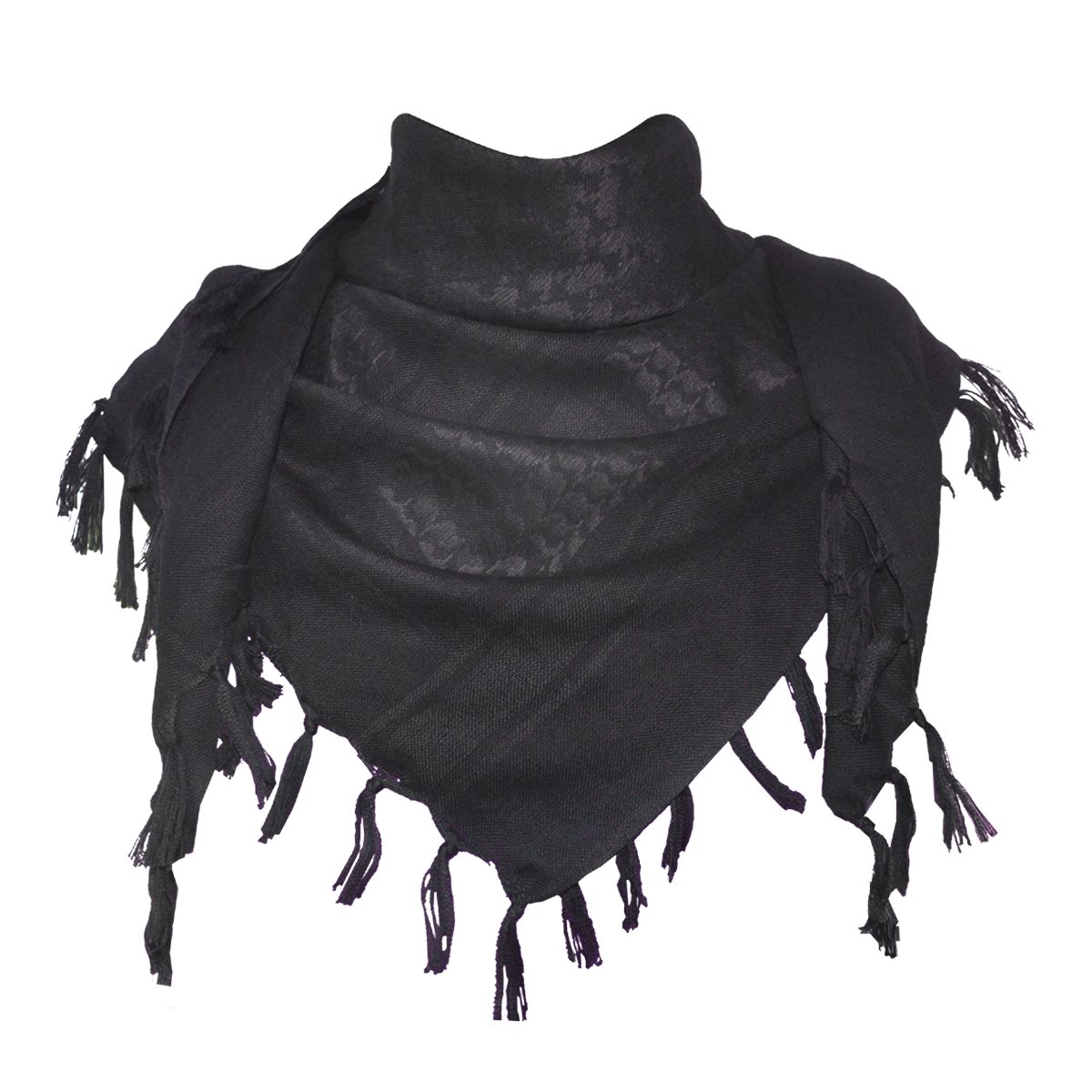 Explore Land 100% Cotton Military Shemagh Tactical Desert Keffiyeh Scarf Wrap (Black)