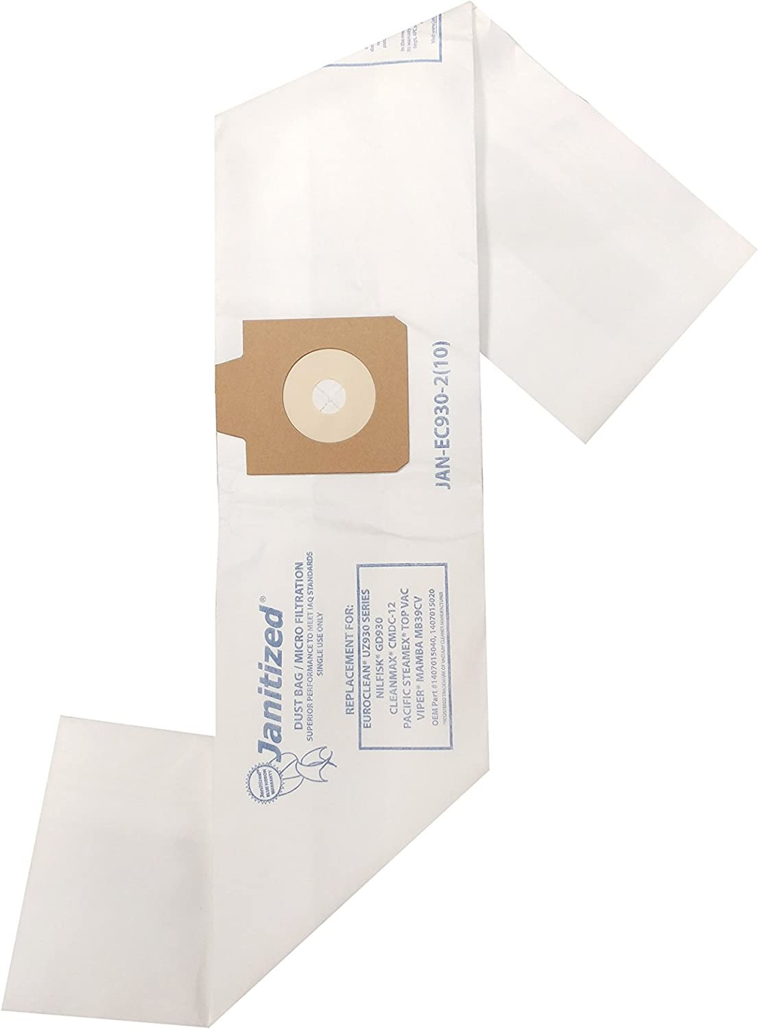 Janitized JAN-EC930-2(10) Premium Replacement Commercial Vacuum Bag, Euroclean UZ930, Viper MB39CV, Nilfisk GD930, Pullman Holt 390ASB, OEM#1407015040, 1407015020, B600900 (Pack of 10)