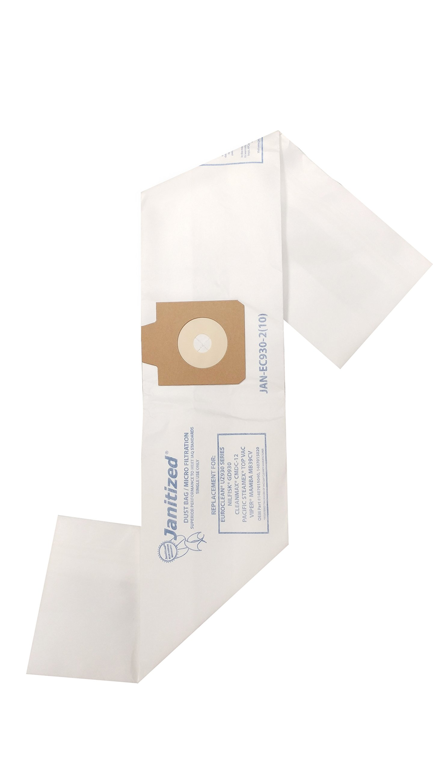 Janitized JAN-EC930-2(10) Paper Premium Replacement Commercial Vacuum Bag For Euroclean UZ930,Nilfisk GD930, Pullman Holt 390ASB, Viper Mamba, Pacific Steamex TopVac, CleanMax CMDC-12 Vacuum Cleaners (10 - 10 packs)