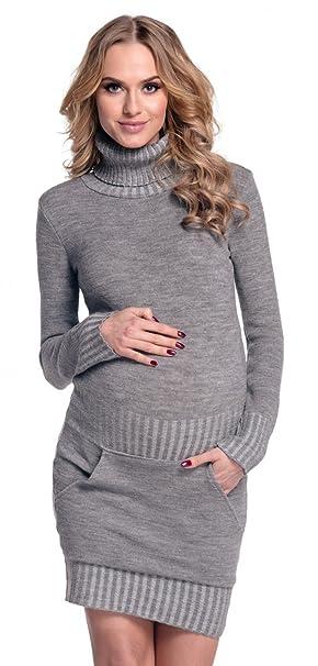 18567c5243 Happy Mama Donna Prémaman Vestito corti Abito maglia collo alto. 178p