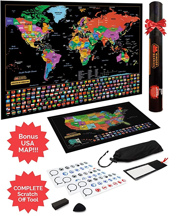 Amazon Com Scratch Off Map Of The World United States Usa Scratchable Travel Wall Art Large World Map Poster Travel Tracker Us State Country Flags Memory Stickers Magnifier Scratch Art Tool