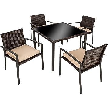 TecTake Salon de Jardin 4 Chaises 1 Table en Résine Tressée (Marron ...