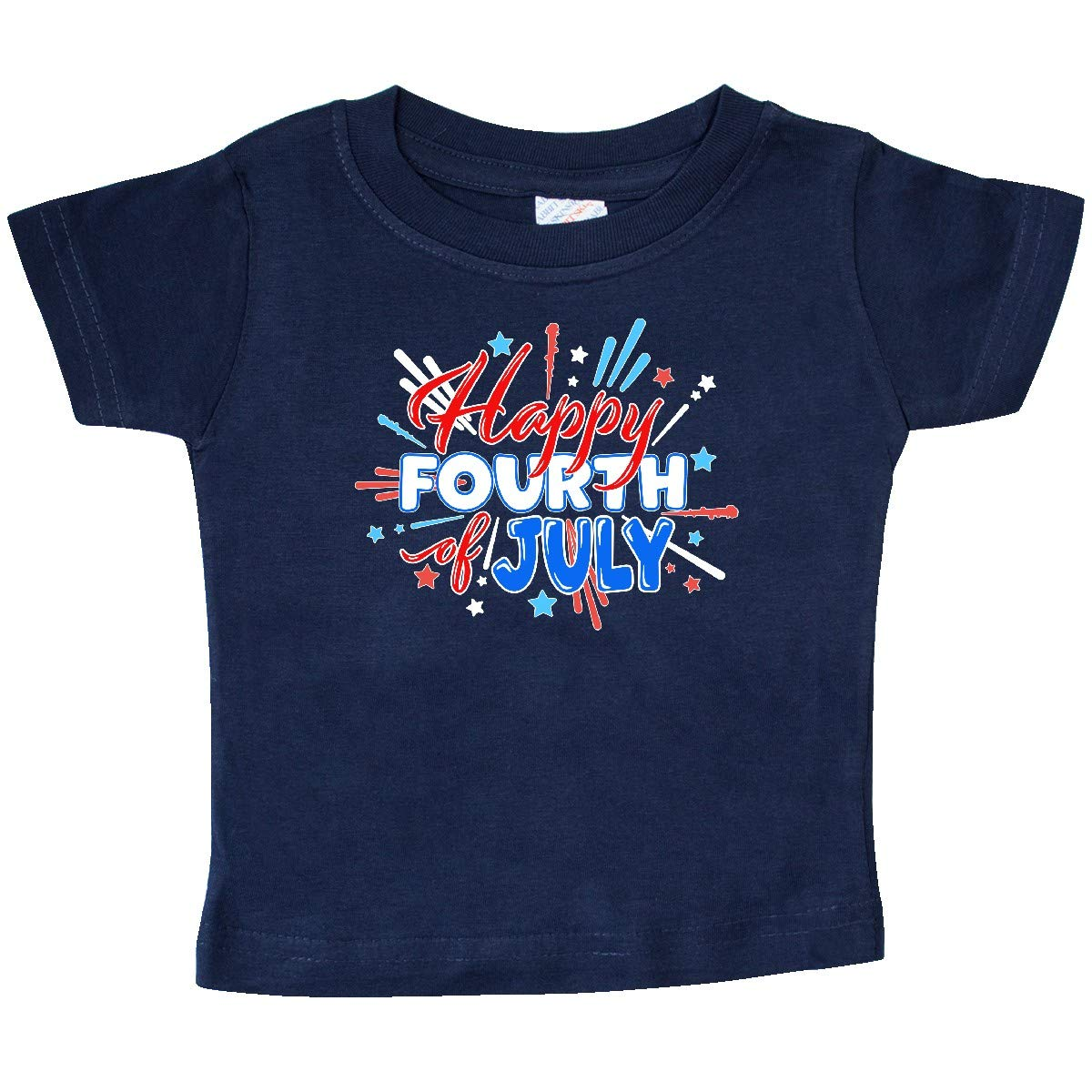inktastic Happy Fourth of July Red and Blue Fireworks Baby T-Shirt White
