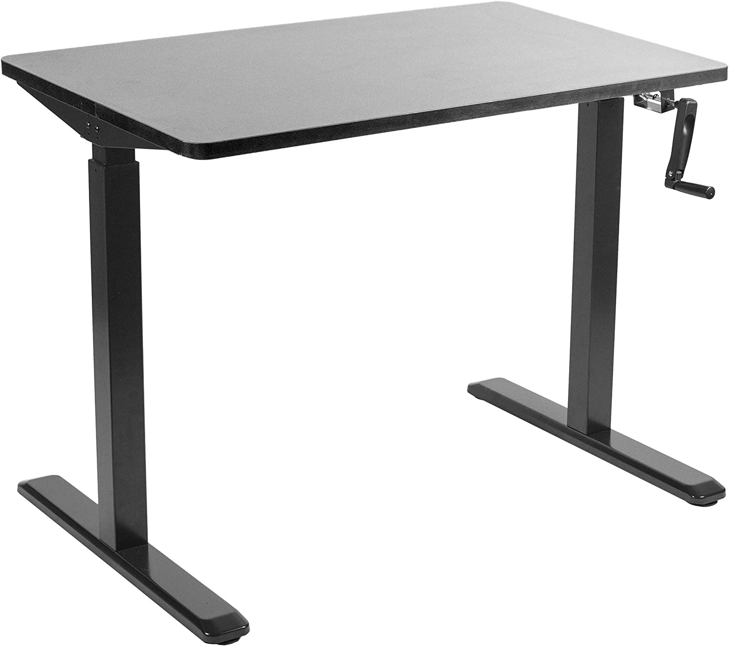 VIVO Manual 43 x 24 Stand Up Desk Black Table Top, Black Frame, Height Adjustable Standing Workstation with Hand Crank DESK-KIT-MB4B
