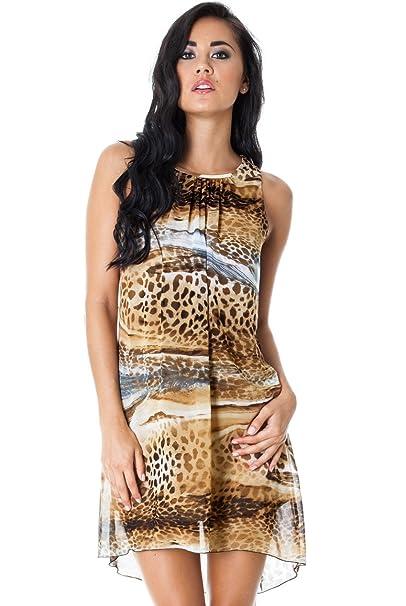 Goddess - Vestido - Animal Print - para mujer marrón marrón Medium / Large