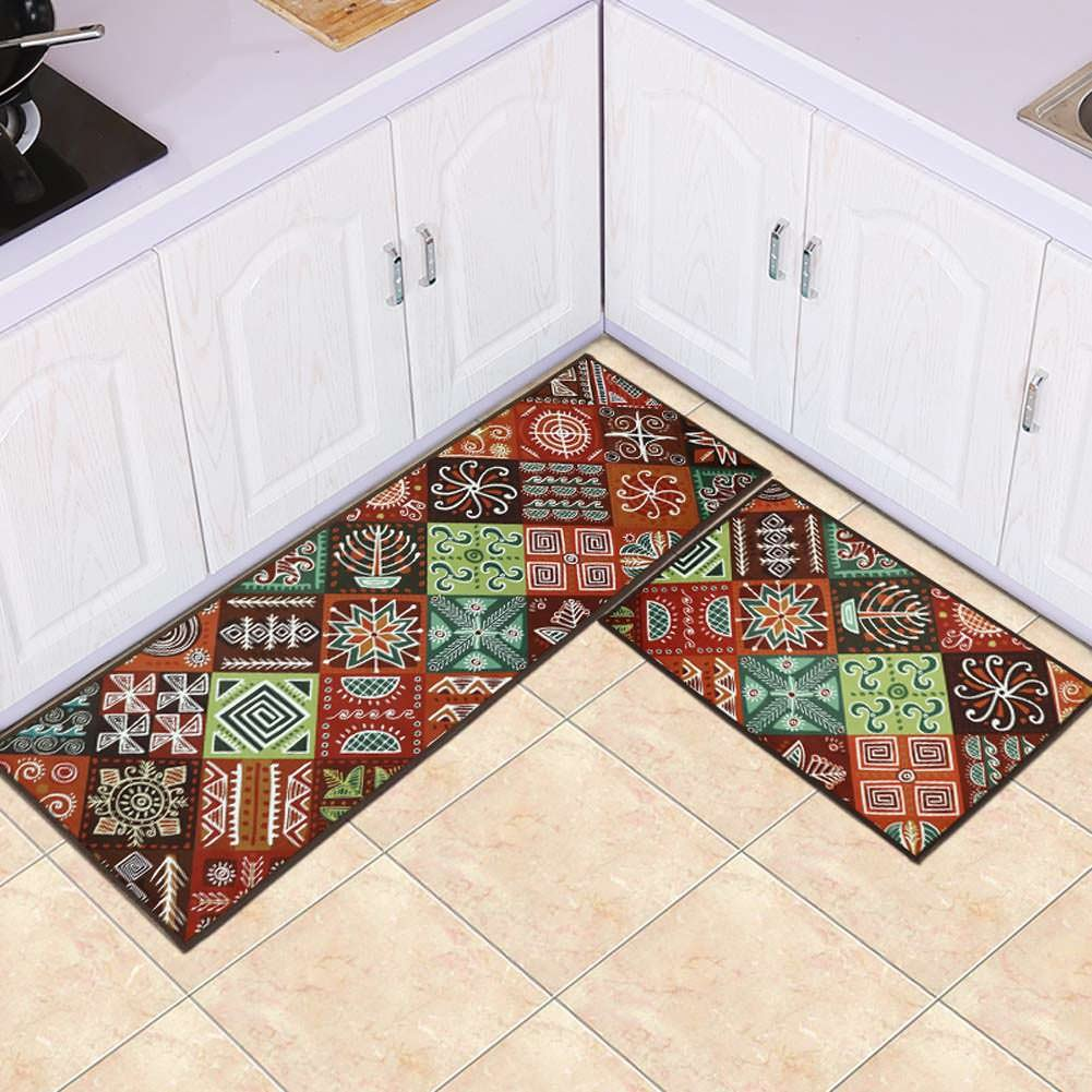 Maxyoyo boho kitchen runner rug set 2 pieces runner rug for kitchen oil proof water proof carpet runner kitchen rug throw rugs with rubber backing 24 x