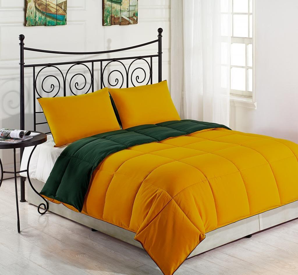 Yellow / Hunter Green 3-Piece Reversible Down Alternative Comforter Set