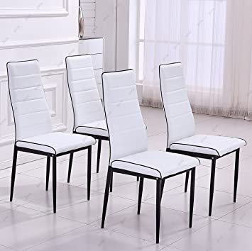 Astonishing Gizza Stylish Design Dining Chairs Faux Leather High Back Seat Foam Padded Metal Legs Home Kitchen Room Restaurant Furniture White Black Pipe 4 Evergreenethics Interior Chair Design Evergreenethicsorg