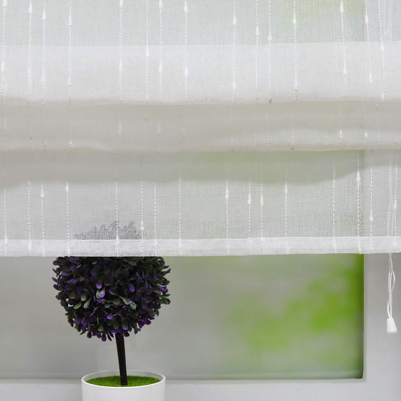 Joyswahl Raffrollo transparente Raffrollos mit Jacquard-Design Schals mit V-Schlaufen Fenster Vorh/änge BxH 60x140cm Braun Scherli 1er Pack