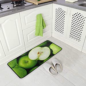 "Jereee Green Apples Non-Slip Kitchen Mat Rectangle Polyester Doormat Floor Runner Rug Home Decor 39"" x 20"""