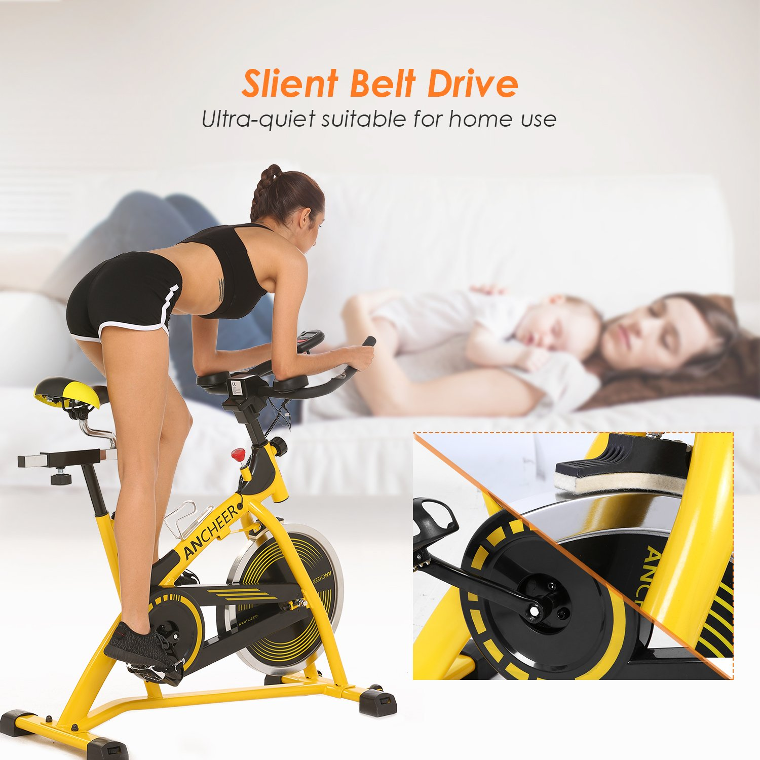 ANCHEER Stationary Bike, 40 LBS Flywheel Belt Drive Indoor Cycling Exercise Bike with Pulse, Elbow Tray (Model: ANCHEER-A5001) (Yellow) by ANCHEER (Image #5)