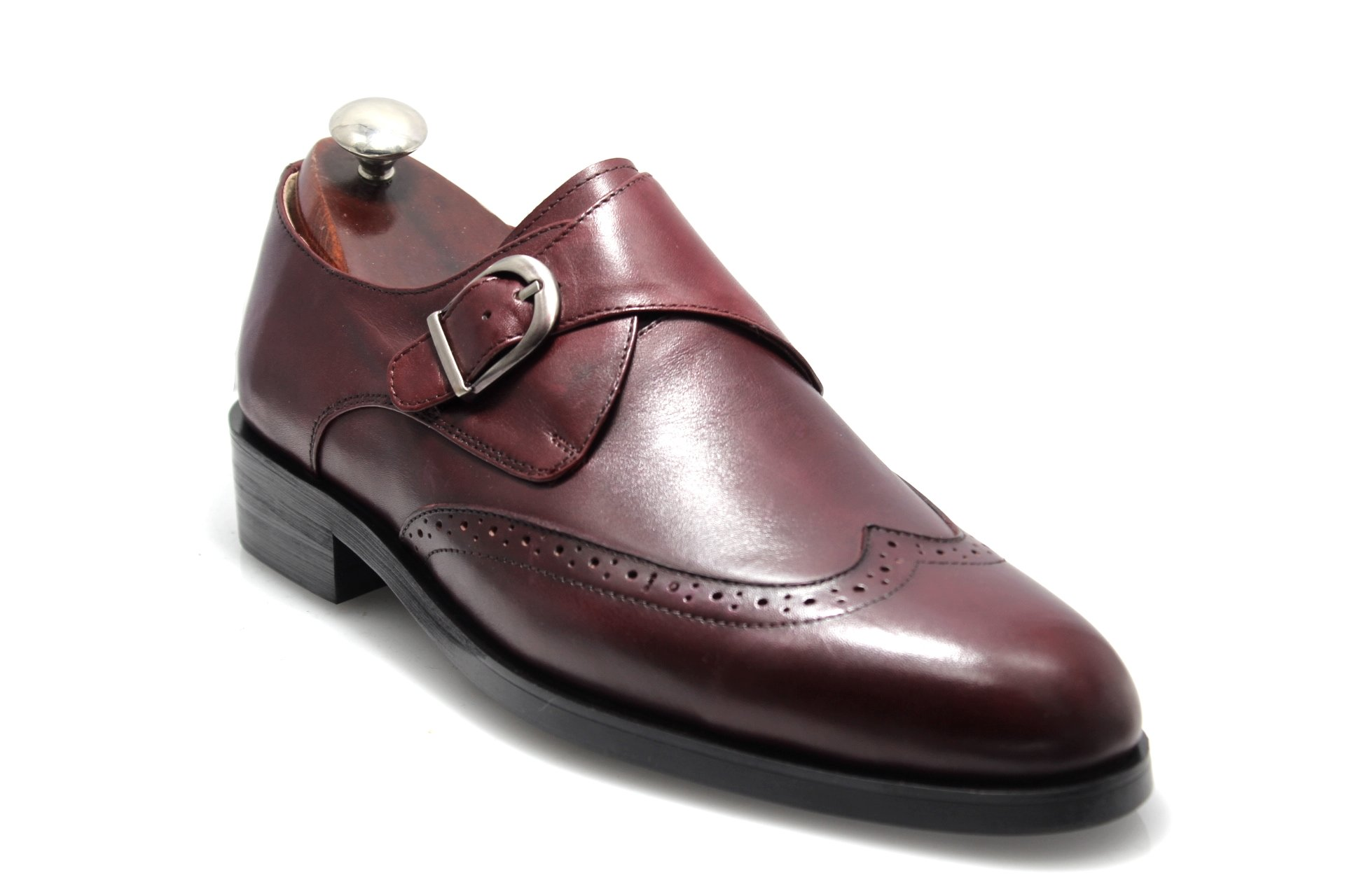 Mens Smythe & Digby Cordovan Leather Single Monk Strap Wingtip Dress Shoes (11)