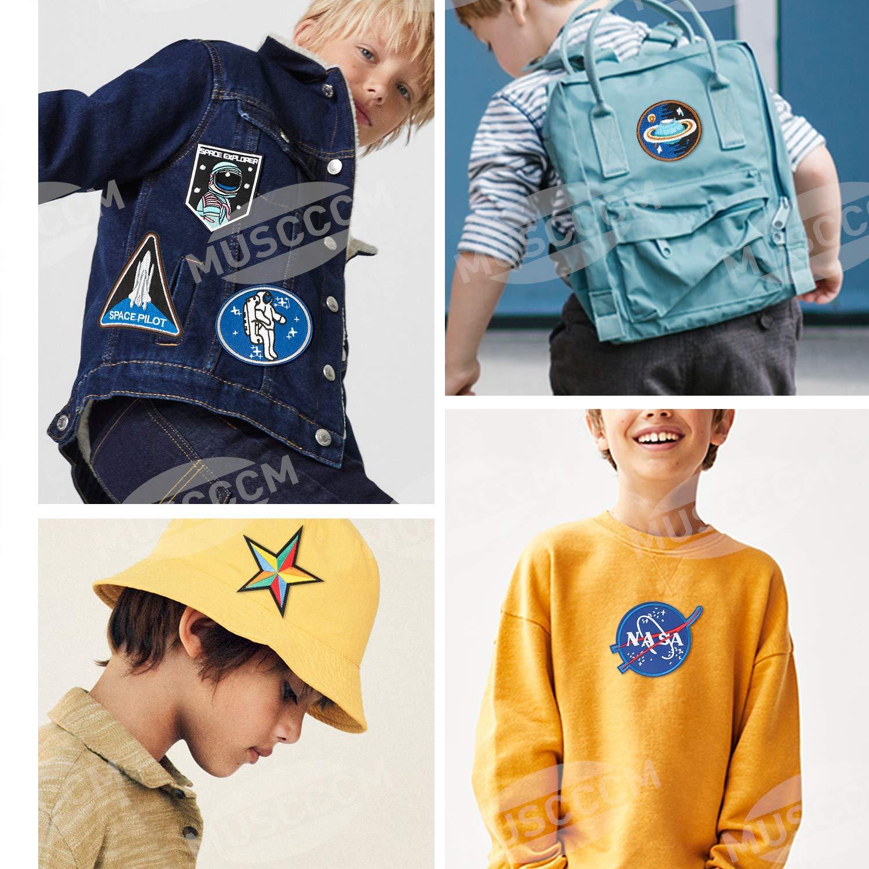 und Raumfahrt Aufn/äher Applikation Flicken Zum Aufb/ügeln f/ür DIY T-Shirt Kleidung Taschen MUSCCCM B/ügelflicken Kinder 10 St/ück Patches zum Aufb/ügeln Luft