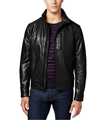 f239b38fc Michael Kors Mens Faux-Leather Motorcycle Jacket Black L at Amazon ...