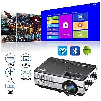 Portátil Android Bluetooth Proyector, 2800 Lúmenes LCD HD 1080P Soportado Inalámbrico Pantalla Salida en antena Miracast LED Proyector con HDMI, USB, ...