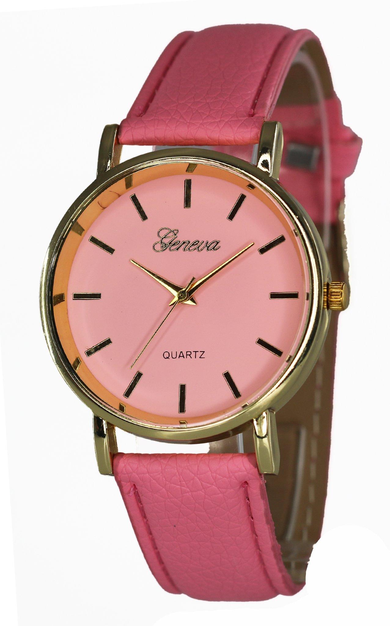 Modern Style Women's Pink comfortable Boyfriend Dress Watch & Swanson Zipper Travel Gym Case