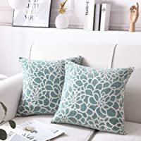 Throw Pillow Cover 20 x 20 Inch Sets of 2 Decorative Square Pillow Covers 100% Cotton Decorative Square Cushion Case Sofa Durable Modern Stylish Cushion Covers Hidden Zipper