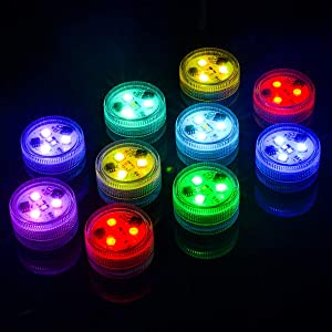 "10x Underwater LED Tea Lights, Submersible RGB Multicolor Waterproof 1.5"" Flameless Candles Battery Powered with Remote Control for Vase Bowl Lantern Pond Pool"