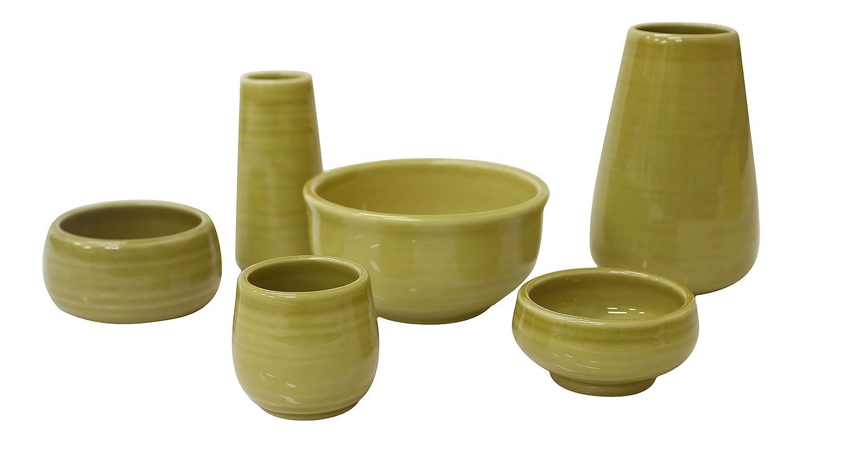 陶器仏具 「もみじ」 6具足セット ミニ仏壇に最適 イエロー B073PWHC84 イエロー イエロー