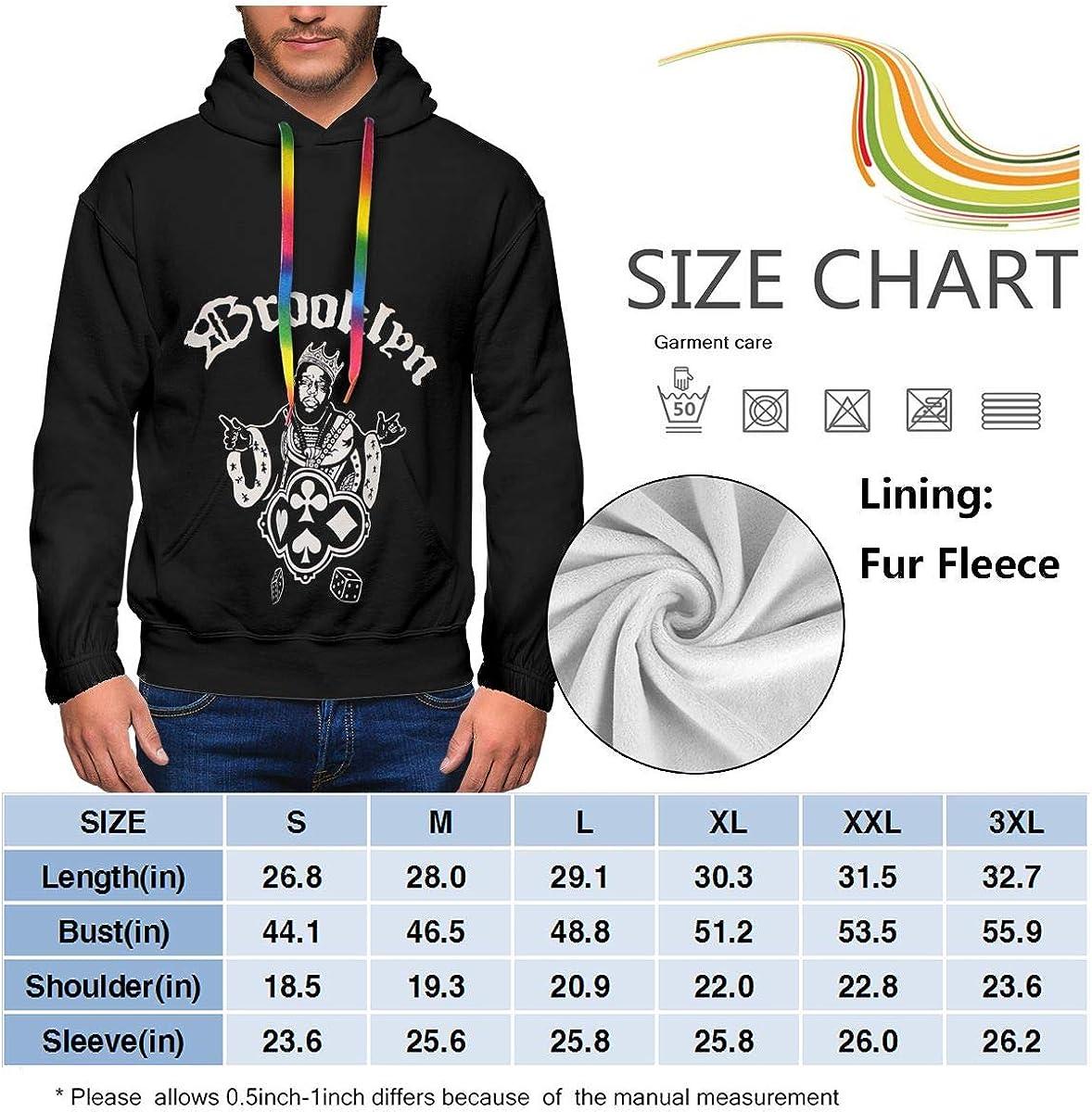 Biggie Smalls Mens Winter Jacket Clothes Plus Velvet Long Sleeve Hooded Sweat Shirt Pullover