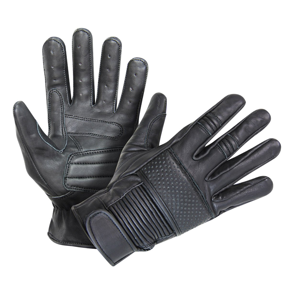 Xelement UK2650 Mens Black Leather Riding Gloves - X-Large