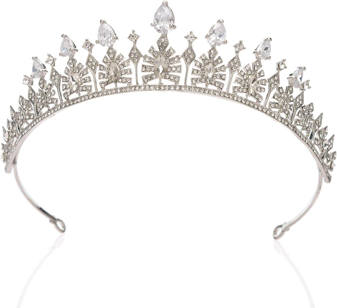 accesorios para el pelo de novia para mujeres y ni/ñas corona de novia Sweetv Tiara de boda de cristal para novia Tiara de princesa con diamantes de imitaci/ón