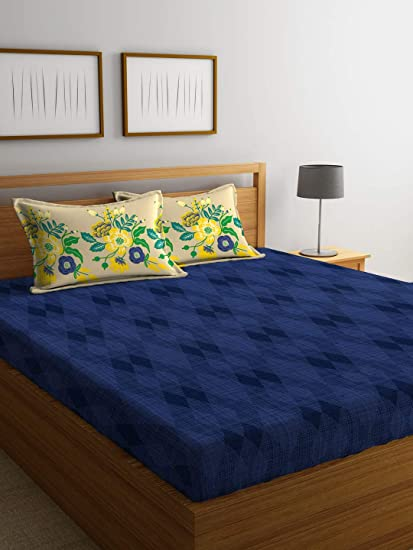 Portico New York Marvella Printed Cotton 144 TC Double Bedsheet with 2 Pillow Cover-224X254 cm