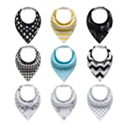 9-Pack Unisex Bandana Bibs 100% Organic Cotton Extra Soft and Absorbent Stylish and Functional Perfect Baby Shower Gift Set for Girls Boys Toddlers by ProMommies