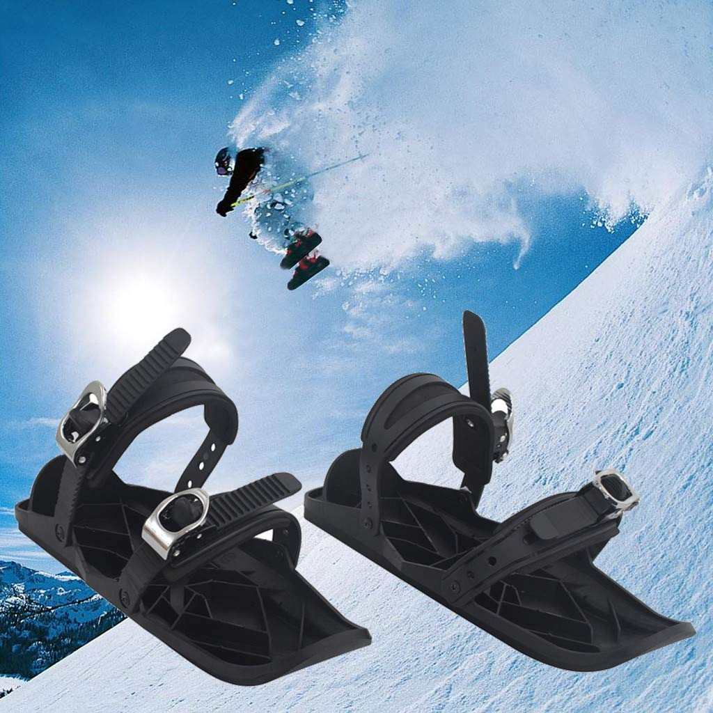 FunDiscount Outdoor Snow Sleds Downhill Winter Toboggan Snow Sled with Brakes Anti-Slip Foot Panels Skiing Snowboard Boat Sleigh for Use on Snow Sport Activities for Men Women (Black) by FunDiscount Shop