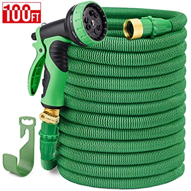 Delxo 100FT Expandable Garden Hose Water Hose with 9-Function High-Pressure Spray Nozzle,Black Heavy Duty Flexible Hose, 3/4  Solid Brass Fittings Leakproof Design (Black Hose) (Green)