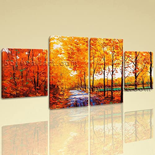 Amazon.com: Large Autumn River Painting Forest Wall Decor Dining ...