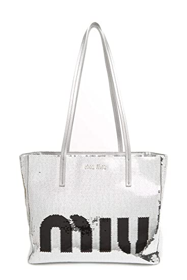 c07b7c5fe20 Amazon.com  Miu Miu Women s 5Bg147959f0q07 Silver Leather Tote  BlackArc