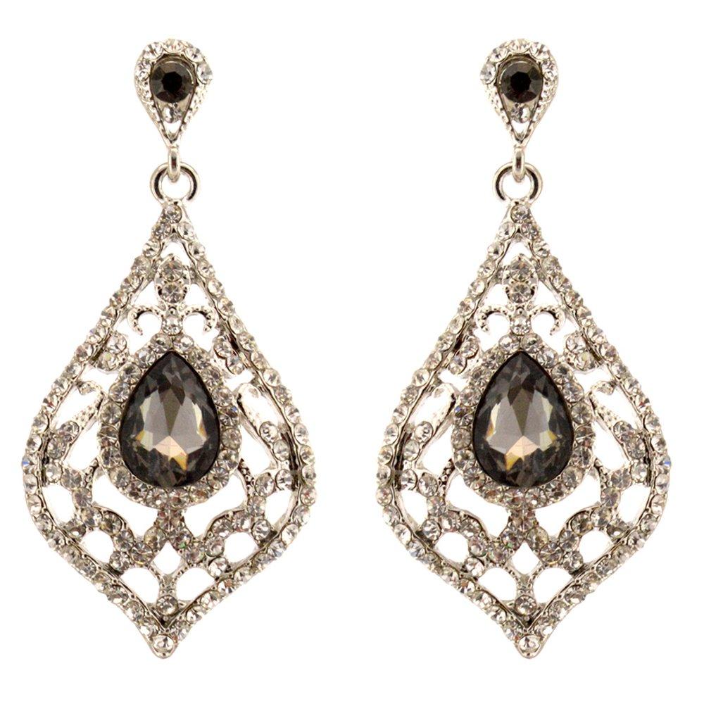 185-GRAY CHARCOAL Fashion Party & Wedding Jewelry Tear Drop Dangle Chandelier Alloy Rhinestone Earrings